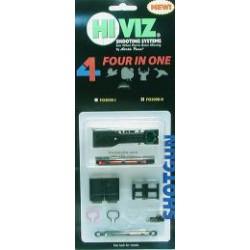HiViz мушка FO2008-I 4 мушки в 1 для планки шириной 6,3 мм и 7,5 мм