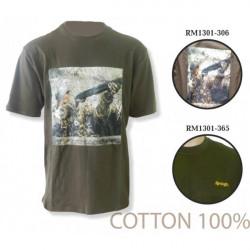 Джемпер (футболка, хлопок, с принтом) с коротким рукавом Remington (хаки)