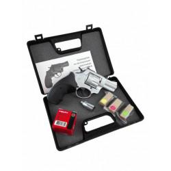 Сигнальный револьвер LOM-S к. 5.6/16 хром + пачка патронов + мини-фейерверк цв. огня набор (9 шт)
