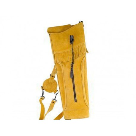 Колчан замшевый желто-коричневый, большой (застежка-рог буйвола)