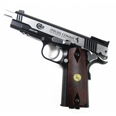 Пистолет пневм. Colt Special Combat (никель с пласт. накладками под дерево)