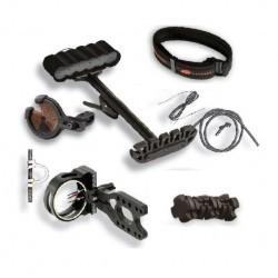 Комплект аксессуаров для лука Gemini, цвет черный: кивер, стабилизатор, прицел, полочка